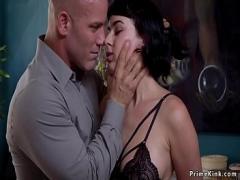 Super seductive video category bdsm (308 sec). Hot brunette rides masters dick.