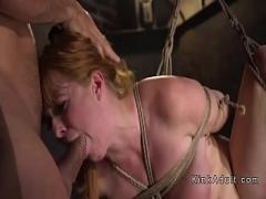 Nice tube video category bdsm (326 sec). Natural redhead anal fucked in rope bondage.