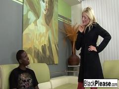 Stars video category cumshot (461 sec). Blonde babe gets analized by a black cock.