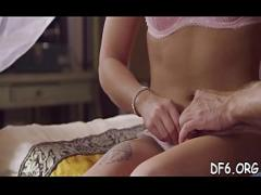 Full sexual video category blowjob (300 sec). Young pair finds the best position for inserting large cock.