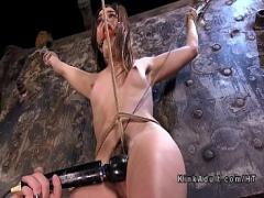 Super sensual video category bdsm (326 sec). Gagged and crotch roped sub vibed.