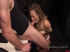 XXX romantic video category bdsm (326 sec). Tied up busty Milf gets deep throat.