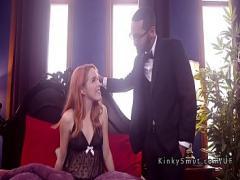 Sex sensual video category bdsm (326 sec). Black master bangs two slaves.