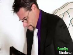 Genial film category cumshot (475 sec). FamilyStroke.net: Lustfull Teen Hardfucking Thief at Home.